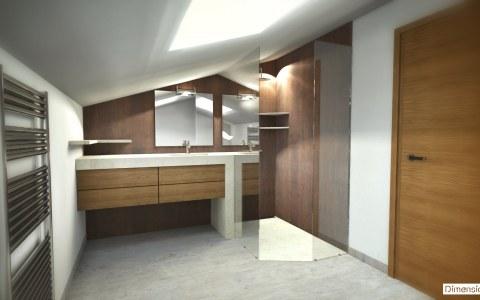 Salle de bains sous combles, céramique The Size, plan vasque et bac a douche quartz Silestone