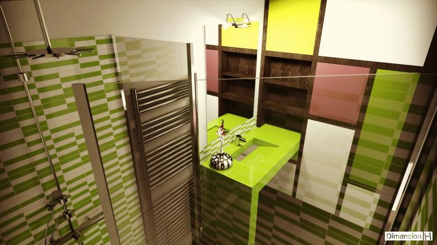 Réhabilitation d'un garage en chambre - Salle de bains plan vasque et bac a douche Silestone Verde fun