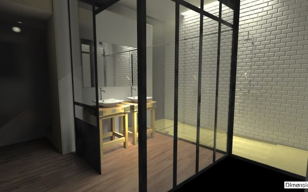 Salle de bain atypique paroies vitrage atelier bac à douche Quartz Silestone Tigris Sand meuble billot de boucher