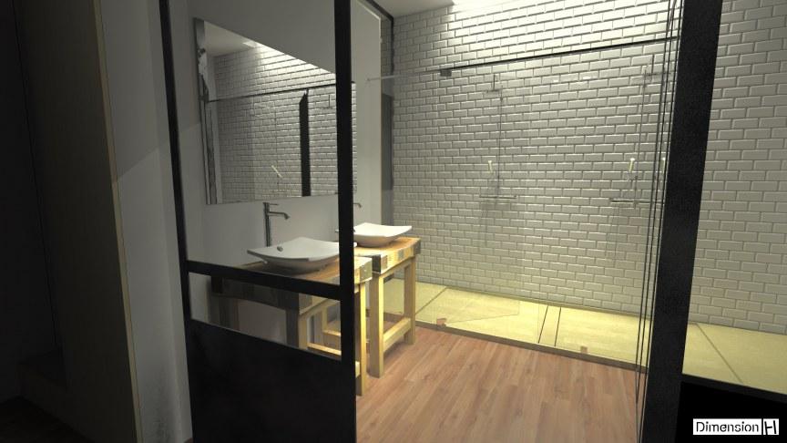 dimension h r novation d une salle de bains atypique. Black Bedroom Furniture Sets. Home Design Ideas