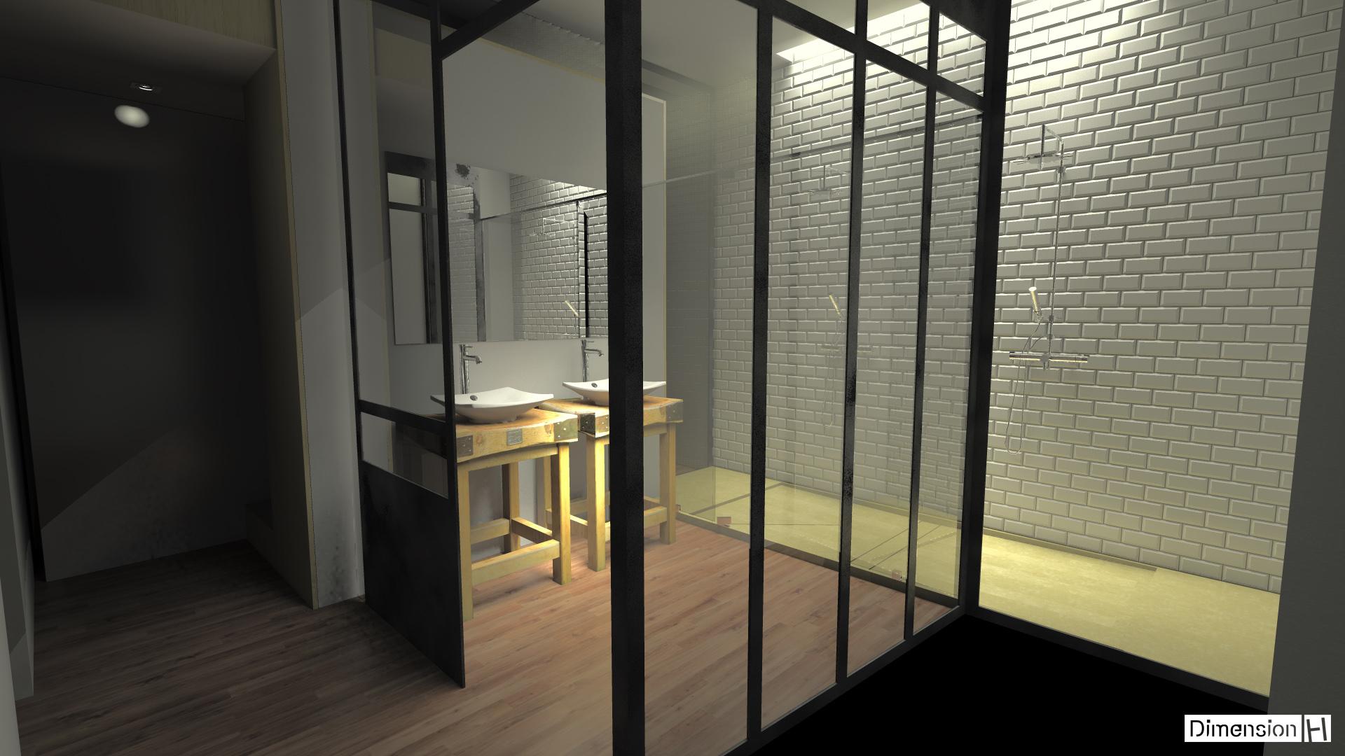 Dimension h r novation d une salle de bains atypique - Dimension d une douche ...