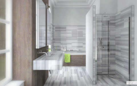 Salle de bains marbre Bianco Striato dalle 30 x 60 cm