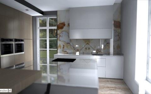 Rénovation d'un manoir cuisine moderne parement mural en Onyx