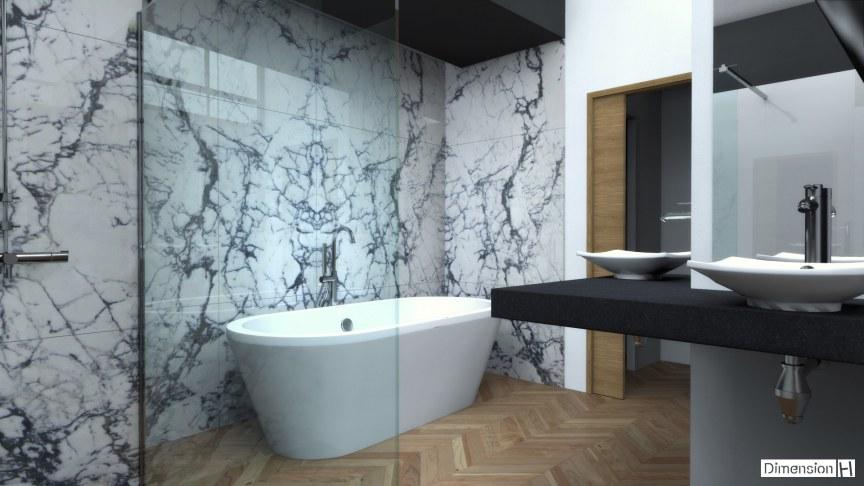 Salle de bains avec habillage mural en marbre Paonazzo avec baignoire posée