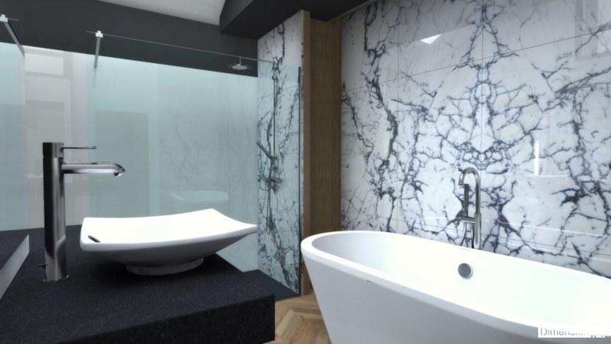 Salle de bains avec habillage mural en marbre Paonazzo avec baignoire posée et douche