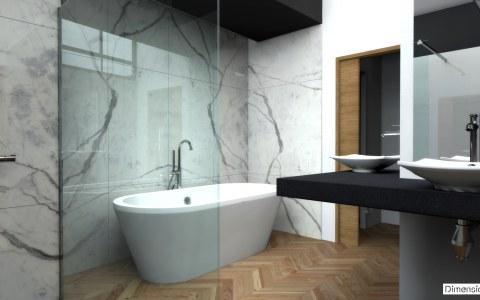 Salle de bains avec habillage mural en marbre Statuaire avec baignoire posée