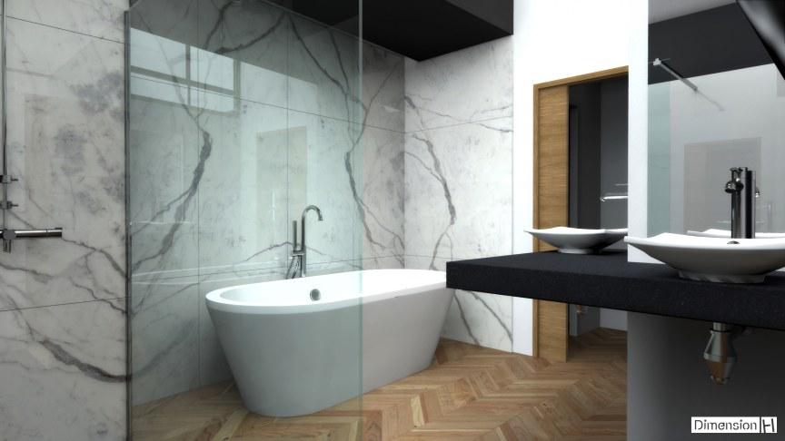 Dimension H | Salle de bains avec habillage mural en marbre