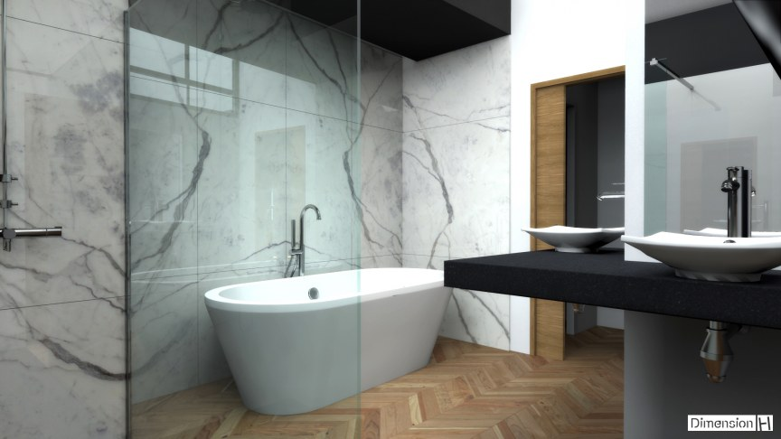 dimension h salle de bains avec habillage mural en marbre. Black Bedroom Furniture Sets. Home Design Ideas