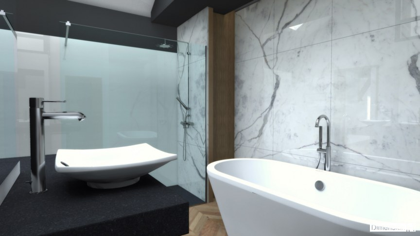 Salle de bains avec habillage mural en marbre Statuaire avec baignoire posée et douche