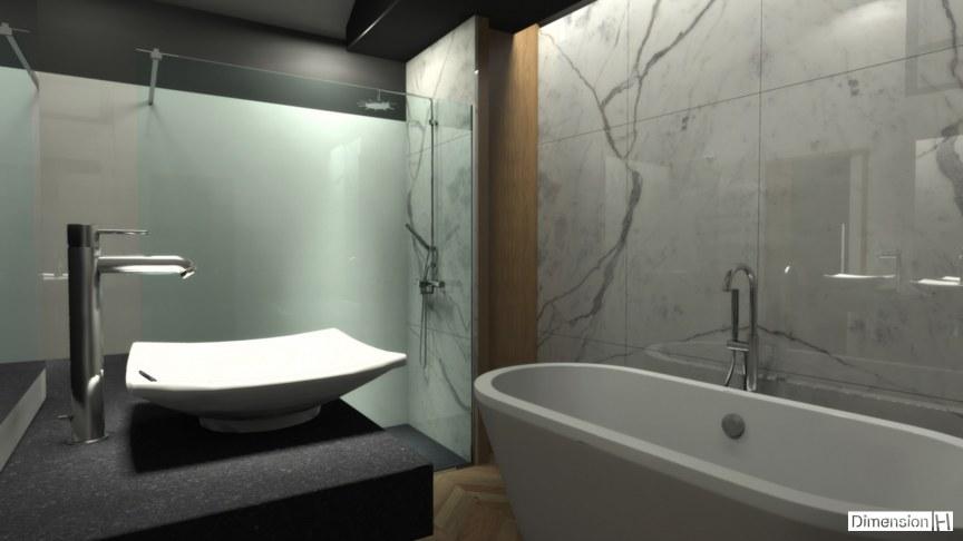 Salle de bains avec habillage mural en marbre Statuaire avec baignoire posée et douche de nuit