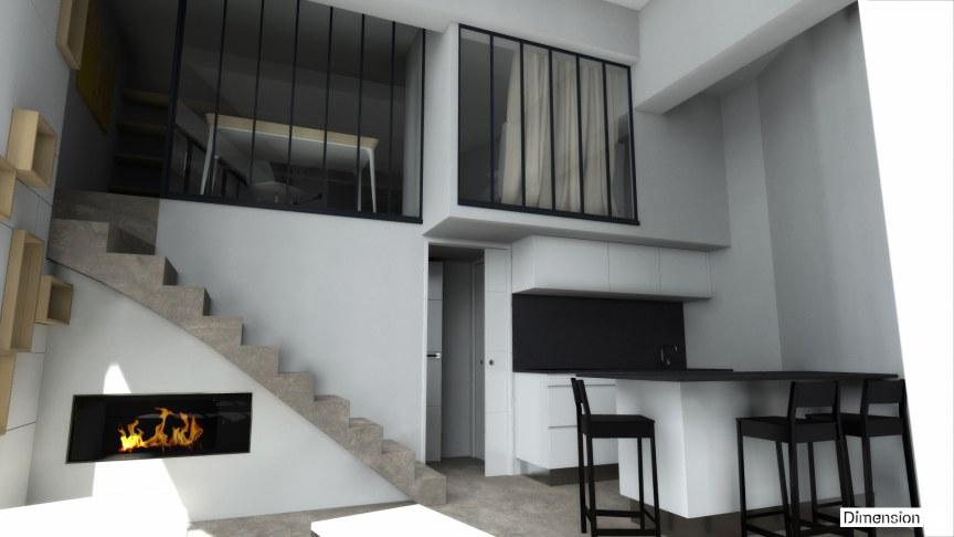 Appartement de 32 m² au sol verriere atelier en mezzanine