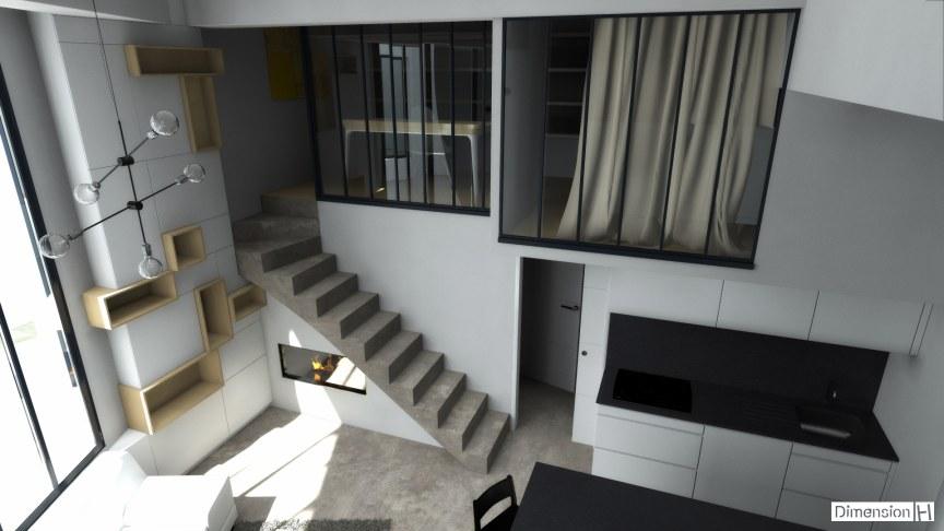 Appartement de 32 m² au sol verriere atelier coin bureau et chambre en mezzanine