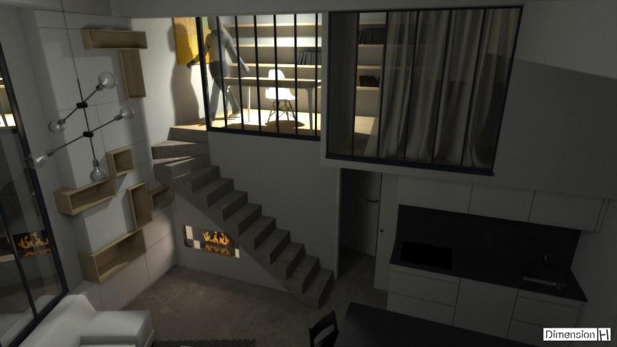 Appartement de 32 m² au sol verriere atelier coin bureau et chambre en mezzanine de nuit