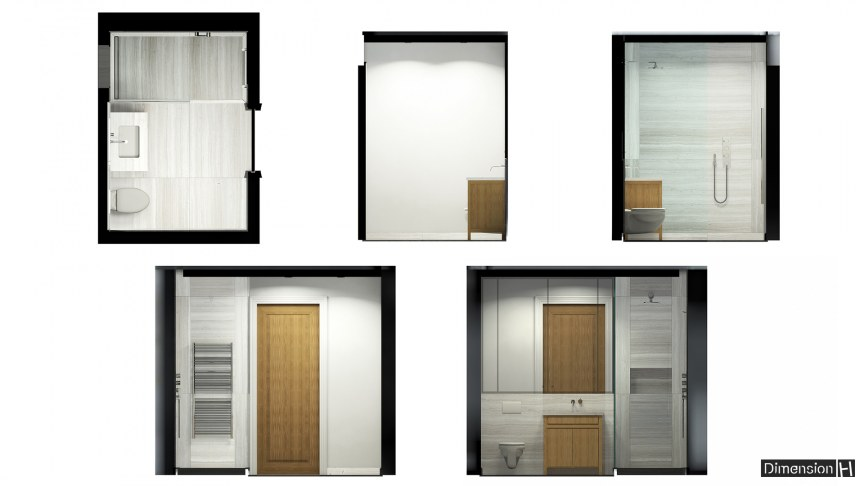 Whitewood marble bathroom Floor, walls and vanity layout